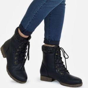 Justfab Nyaling Sweater Cuff black combat boot 6.5